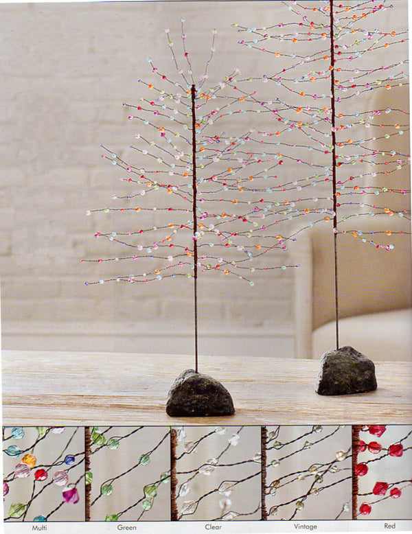 3' Colored Beaded Tree  with Stone Base Choose from Different Colors