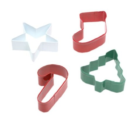 Christmas Cookie Cutters Set of 4, Stocking, Star, Christmas Tree, Candy Cane