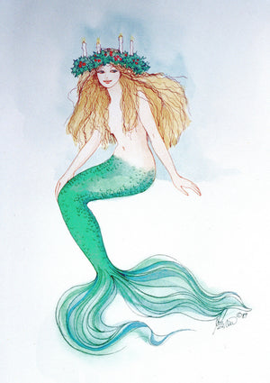 Karen Bagnard St Lucia Mermaid Greeting Card