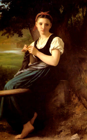 Adolphe William Bouguereau Knitting Girl Greeting Card
