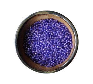 300 Pieces Printed Lavender Purple Glass Round Beads