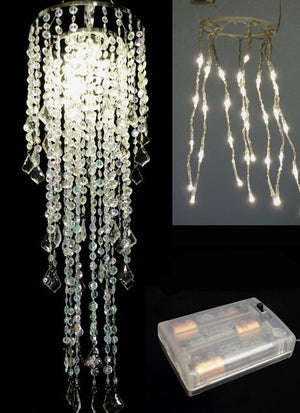 LED Large Diamond Cut Beaded Chandelier -- Iridescent Clear -- Battery Operated