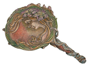 Art Nouveau Bronzed Lily Woman Hand Mirror -- Summit Collection