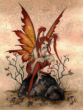 Amy Brown Little Red Mischief Fairy Postcard