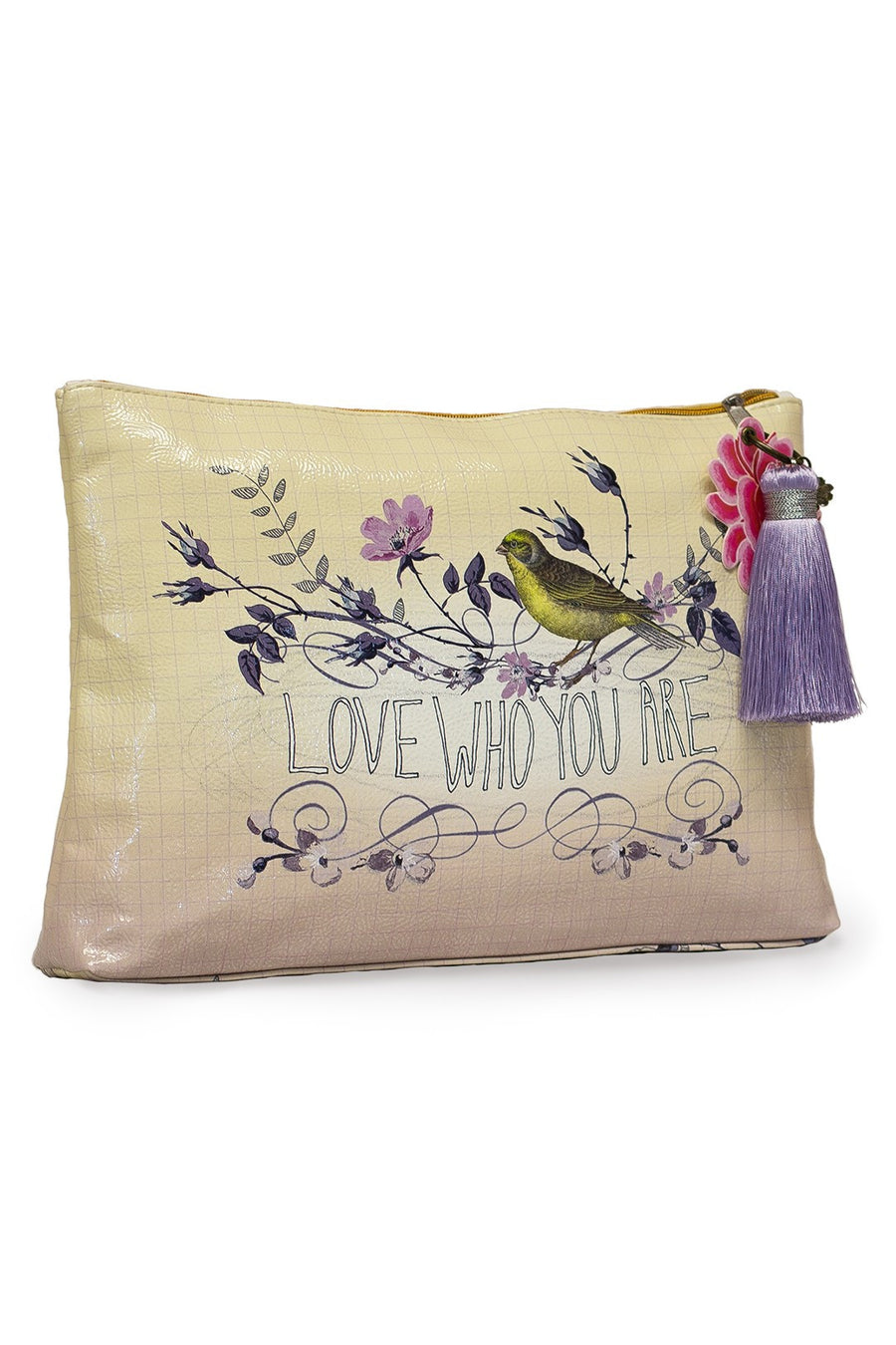 Papaya Art Love Who You Are Bird Bohemian Accessory Bag with Key Chain