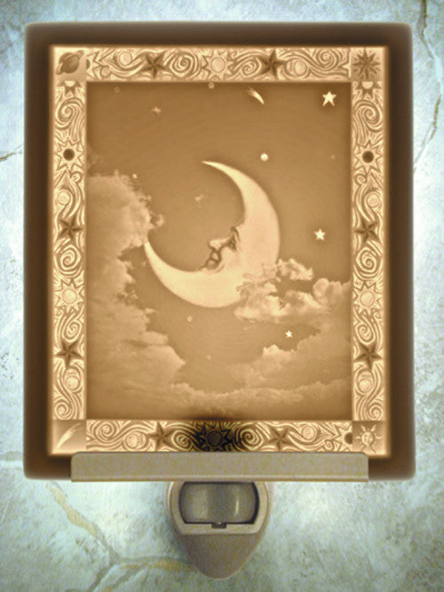Man in the Moon Porcelain Lithophane Night Light -- Flat