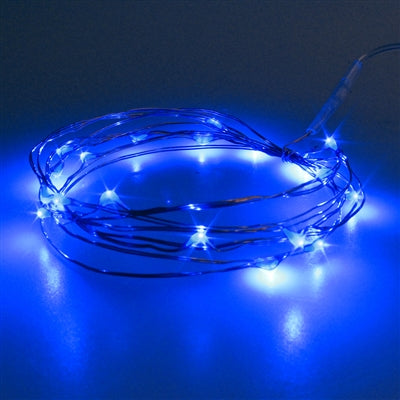 6.5' Bendable Copper Wire Marine Blue Tiny String Lights -- Battery Operated