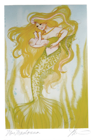 Karen Bagnard MerMadonna Baby Mermaid Retired Greeting Card