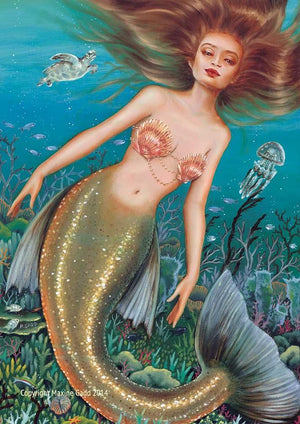 Maxine Gadd Greeting Card -- Mermaid Sea Turtle