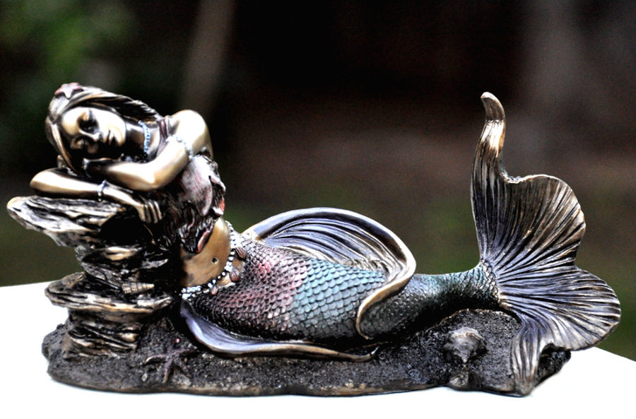 Bronze Colored Mermaid Sleeping on Rocks Figurine