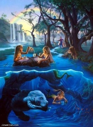 Jim Warren Mermaid Tea Party Birthday Greeting Card