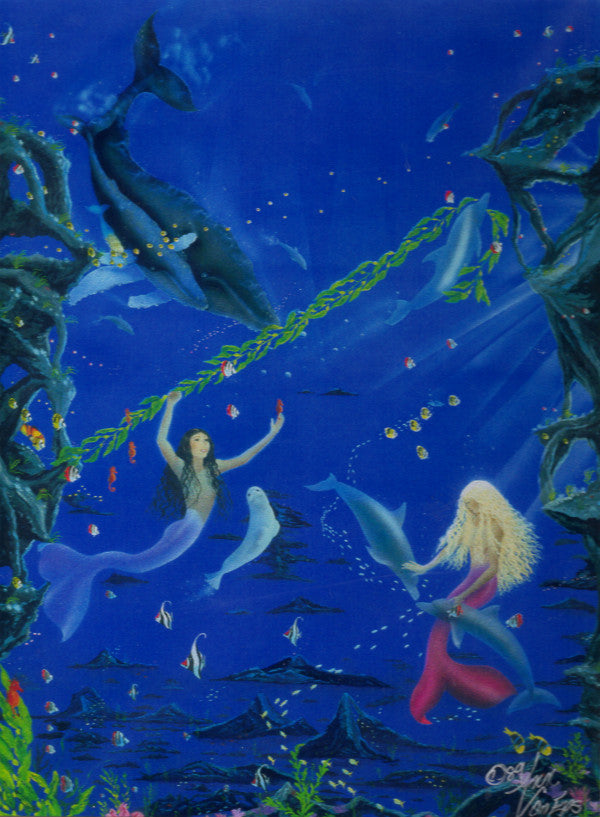 Ann Van Eps Signed Mermaids Playground Matted Print