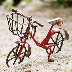 Miniature Antiqued Red Bicycle for the Garden