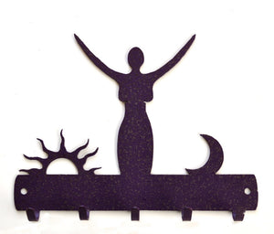 Purple Metal Moon and Sun Goddess Wall Hook Hanging