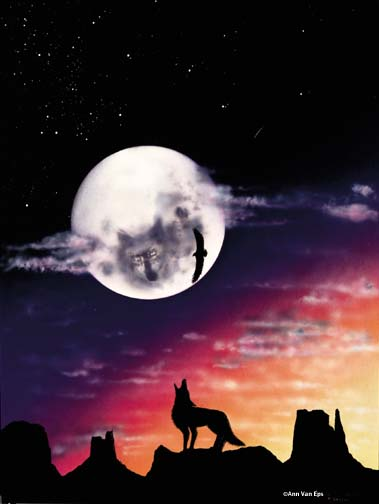 Ann Van Eps Moon Wolf Greeting Card