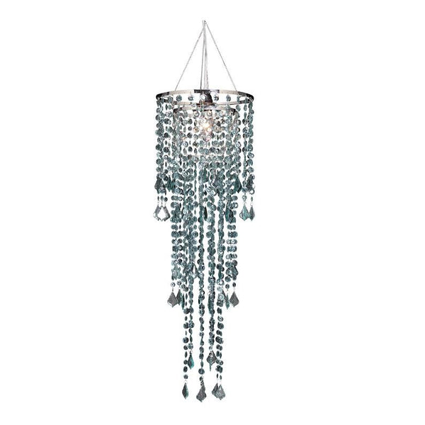 Large Diamond Cut Beaded Chandelier -- Morning Mist