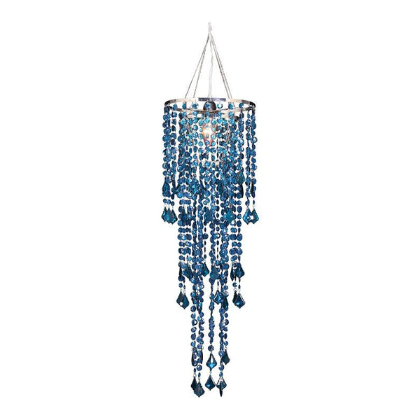 Large Diamond Cut Beaded Chandelier -- Mosaic Blue