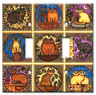 Dan Morris Mosaic Cats Double Switch Plate