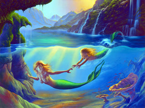 Jim Warren Mother and Child Mermaid Greeting Card