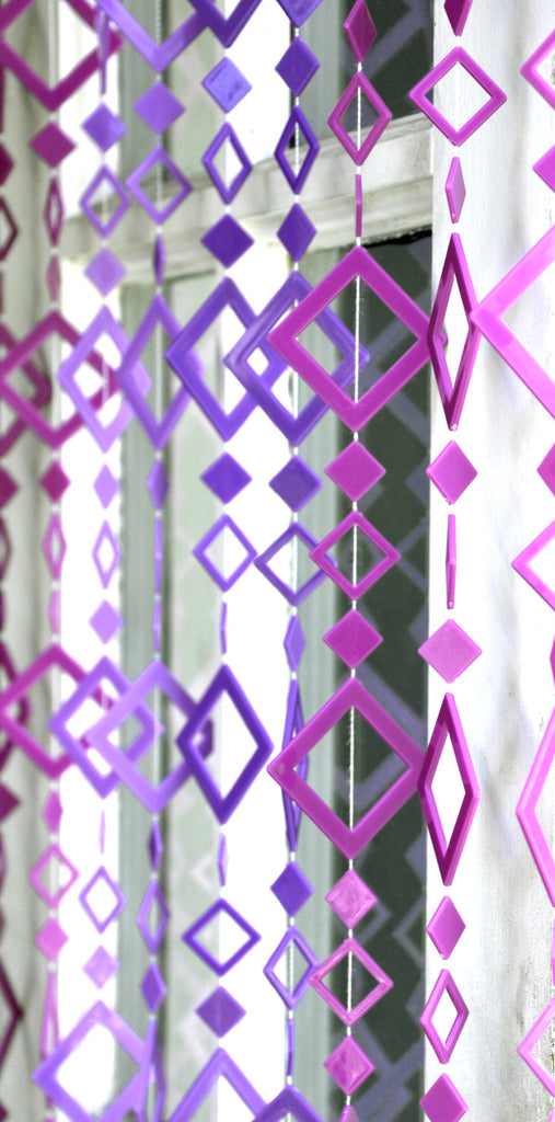 Multi Purple Geometric Diamond Shape Beaded Curtain That