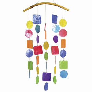 Capiz Shell Windchime -- Multi Colored Rainbow with Bamboo Branch