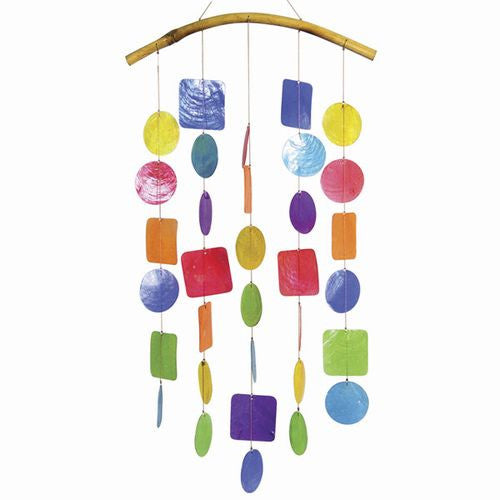 Capiz Shell Windchime -- Multi Colored with Bamboo Branch