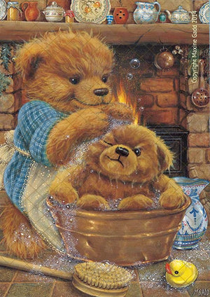 Wholesale Maxine Gadd Teddy Bear Mungos Bathtime Print -- Set of 6