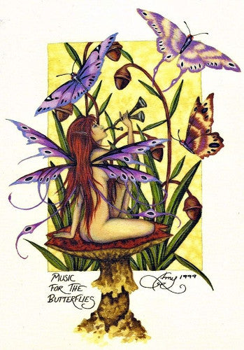 Amy Brown Music for the Butterflies Fairy Postcard