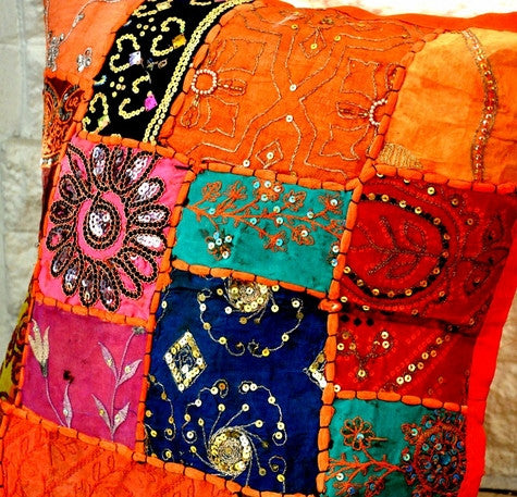 Bohemian Pillow Cover -- Orange