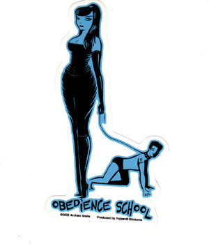 Archaic Smile Dominatrix Obedience School Sticker