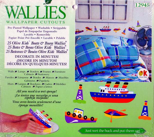 Wallies Olive Kids Boats and Buoys Wallpaper Cutouts