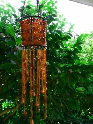Orange Brown Seed Beads Beaded Hanging Candle Holder
