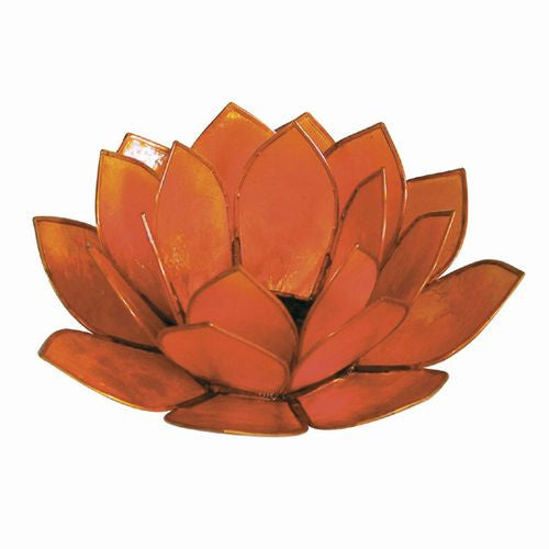 Orange Capiz Shell Lotus Candle Holder