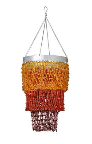 Beaded Orange and Brown Mini Ball Three Tier Chandelier