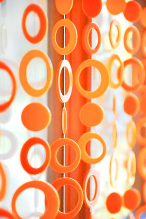 6' Beaded Curtain -- Neon Orange Retro Circles