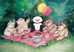 Karen Bagnard Pandas Teddy Bear Picnic Greeting Card