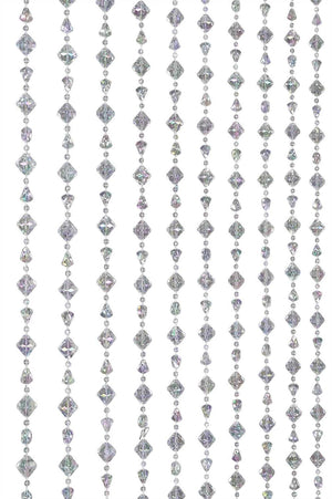 Iridescent Clear Gemstone Shape Beaded Curtain