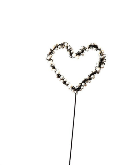14 Inch Heart Shaped Wedding Pick |  Creamy White Colored Faux Pearls  |  Wire Wrapped Beads
