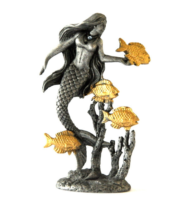 Pewter Mermaid Fish Tickle Figurine by Rawcliffe