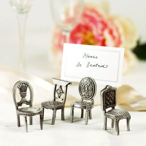 Set of 4 Antiqued Pewter Chair Figurine Place Card Holder Wedding Favor