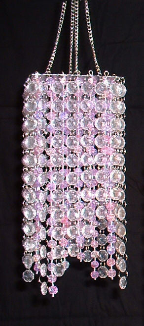 Hand Beaded Chandelier -- Pink & Clear -- 20 Inches Long