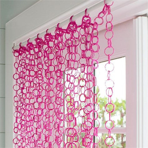 Hot Pink Bamboo Rings Curtain -- 82 Inches Long