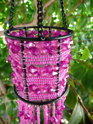Pink Seed Beads Beaded Hanging Candle Holder