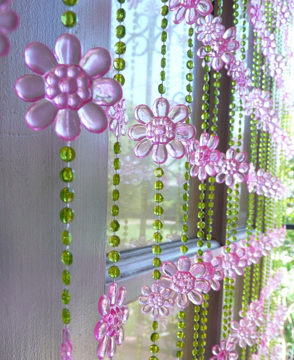 Pink & Lime Green Daisy Beaded Curtain -- Flowers