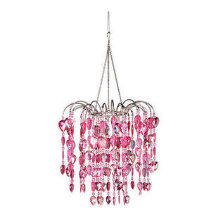 Beaded Teardrop Waterfall Chandelier -- Pink