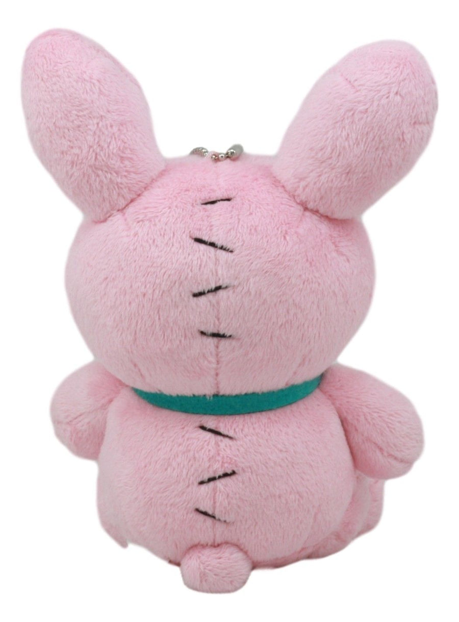 Small Furry Bones Skeleton Pink Bunny With Green Polka Dot Tie Plush Toy Doll