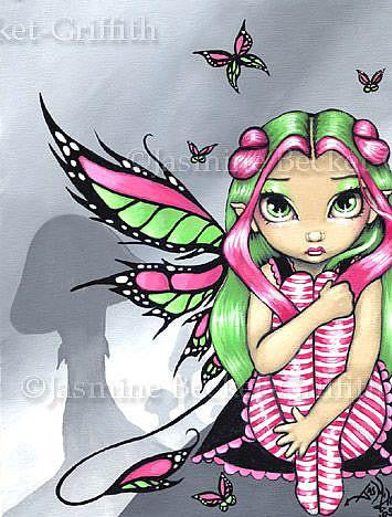 Jasmine Becket Griffith Pink and Green Butterflies Print