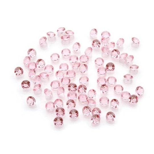 100 Pink Acrylic 12mm Diamond Shaped Wedding Scatter Beads