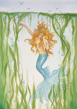 Karen Bagnard Piscean Mermaid and Baby Greeting Card