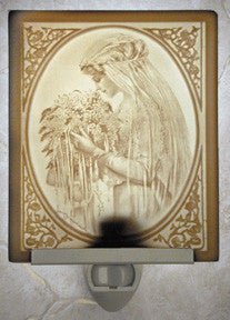 Portrait of a Bride Porcelain Lithophane Night Light -- Curved